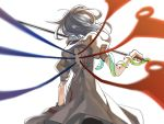 1girl asymmetrical_wings back black_dress black_hair blurry bronze_liver cowboy_shot depth_of_field dress from_behind houjuu_nue medium_hair polearm puffy_short_sleeves puffy_sleeves short_sleeves simple_background snake solo touhou weapon white_background wings