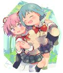 2girls arm_around_shoulder bag black_legwear black_skirt blue_hair blush blush_stickers carrying carrying_over_shoulder cheek-to-cheek closed_eyes dot_nose feet_out_of_frame floating_hair hair_ornament hair_ribbon hairclip hug hug_from_behind juliet_sleeves kaname_madoka kirikuchi_riku long_sleeves looking_at_another mahou_shoujo_madoka_magica miki_sayaka mitakihara_school_uniform multiple_girls neck_ribbon open_mouth parted_lips pink_eyes pink_hair plaid plaid_skirt pleated_skirt puffy_sleeves red_ribbon ribbon school_bag school_uniform short_hair short_twintails skirt standing thigh-highs twintails uniform white_legwear