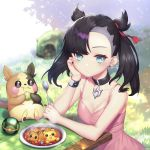 1girl absurdres aqua_eyes asymmetrical_bangs asymmetrical_hair bangs bare_arms bare_shoulders black_hair black_nails blush breasts choker collarbone commentary_request dress earrings eating eevee food gen_8_pokemon hair_ribbon highres holding holding_spoon jewelry ko_toad long_hair long_sleeves looking_at_viewer mary_(pokemon) medium_breasts morpeko outdoors pikachu pink_dress poke_ball pokemon pokemon_(game) pokemon_swsh red_ribbon ribbon spoon twintails