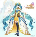 1girl :d black_footwear blue_eyes blue_hair blue_nails boots breasts bridal_gauntlets cape detached_collar detached_sleeves dress floating_hair hair_between_eyes hatsune_miku jewelry long_hair long_sleeves looking_at_viewer nail_polish open_mouth ring shiny shiny_hair short_dress sleeveless sleeveless_dress small_breasts smile solo striped striped_dress suzunosuke_(sagula) thigh-highs thigh_boots very_long_hair vocaloid waist_cape white_background white_cape white_sleeves yellow_dress zettai_ryouiki zoom_layer
