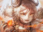 1girl arknights artist_name bangs blonde_hair choker eyelashes fangs feathers fire flame grin horns ifrit_(arknights) jacket nail_polish orange_eyes smile solo_focus strap strapless tubetop twintails v-shaped_eyebrows vial white_jacket wind xilveroxas
