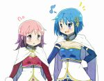 +++ 2girls :d alternate_color alternate_hairstyle arms_at_sides belt blue_eyes blue_hair blush breasts cape collarbone cosplay detached_sleeves dot_nose eighth_note flying_sweatdrops fortissimo fortissimo_hair_ornament frown gloves hair_down hair_ornament hairclip hand_on_another's_back hand_on_hip happy height_difference kaname_madoka kirikuchi_riku looking_at_another looking_away mahou_shoujo_madoka_magica medium_breasts medium_hair miki_sayaka miki_sayaka_(cosplay) multiple_girls musical_note open_mouth parted_lips pink_eyes pink_hair short_hair side-by-side simple_background small_breasts smile soul_gem standing strapless upper_body v-shaped_eyebrows white_background white_cape white_gloves