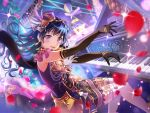 bang_dream! black_hair blush dress gloves long_hair shirokane_rinko smile violet_eyes
