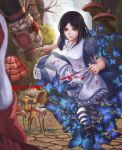 1girl alice:_madness_returns alice_(wonderland) american_mcgee's_alice apron black_hair blood breasts bug butterfly card_knights closed_mouth commentary_request dress insect jupiter_symbol knife kome_(okome-smile) long_hair mushroom pantyhose striped striped_legwear weapon white_rabbit