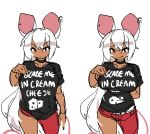1girl absurdres animal_ears arm_behind_back baggy_clothes black_choker black_nails breasts choker clothes_writing commentary dark_skin ear_piercing english_commentary fuck-me_shirt highres huge_breasts licking_lips long_hair looking_at_viewer meme_attire mouse_ears mouse_girl multiple_views nail_polish original pajamas_challenge piercing print_shirt pulled_by_self red_eyes red_legwear red_nails shirt slender_waist solo sweat t-shirt taut_clothes taut_shirt tongue tongue_out very_long_hair white_hair zana