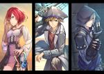 1girl 2boys blue_eyes breasts brown_hair closed_mouth commentary_request dress fingerless_gloves gloves gogo_(detteiu_de) green_eyes highres hood jewelry kairi_(kingdom_hearts) keyblade kingdom_hearts kingdom_hearts_ii looking_at_viewer medium_hair multiple_boys necklace open_mouth redhead riku silver_hair smile sora_(kingdom_hearts) spiky_hair sweat
