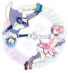 2girls :d belt blue_eyes blue_footwear blue_hair blue_skirt blush boots bubble_skirt cape choker circle collarbone detached_sleeves dot_nose flat_chest fortissimo fortissimo_hair_ornament frilled_skirt frills full_body gloves hair_ornament hair_ribbon hairclip hand_up hands_together happy heart heart_background kaname_madoka kirikuchi_riku leg_up looking_at_another mahou_shoujo_madoka_magica miki_sayaka multiple_girls open_mouth outstretched_arm pink_eyes pink_hair pink_ribbon puffy_short_sleeves puffy_sleeves red_footwear ribbon short_hair short_sleeves short_twintails sidelocks simple_background skirt smile socks soul_gem strapless thigh-highs twintails upside-down white_background white_cape white_legwear white_skirt
