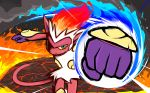 alternate_color blue_eyes commentary creature fiery_hair fire fire_punch_(pokemon) gen_4_pokemon highres infernape ishmam looking_at_viewer monkey no_humans pokemon pokemon_(creature) punching shiny_pokemon smoke solo standing upper_body