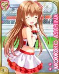 1girl asahina_momoko bare_shoulders breasts brown_hair chain-link_fence character_name closed_eyes fence from_side girlfriend_(kari) halterneck hand_to_own_mouth holding long_hair midriff miniskirt official_art open_mouth outdoors qp:flapper racequeen ribbon shirt side_ponytail sign skirt small_breasts smile solo white_shirt white_skirt wrist_cuffs