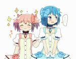 ... 2girls ^_^ alternate_color arm_at_side blue_eyes blue_hair blue_ribbon blush buttons choker closed_eyes closed_mouth collarbone cosplay dot_nose embarrassed eyebrows_visible_through_hair flat_chest floral_background flower frown hair_ribbon half-closed_eyes hand_on_another's_back happy height_difference kaname_madoka kaname_madoka_(cosplay) kirikuchi_riku looking_away mahou_shoujo_madoka_magica miki_sayaka multiple_girls nervous open_mouth pink_hair pink_ribbon puffy_short_sleeves puffy_sleeves red_choker ribbon short_hair short_sleeves short_twintails side-by-side simple_background smile soul_gem spoken_ellipsis standing sweatdrop thought_bubble twintails upper_body v_arms white_background yellow_flower