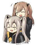 2girls alternate_hairstyle bangs black_gloves black_jacket brown_hair closed_eyes cropped_torso crossed_bangs dated eyebrows_visible_through_hair facial_scar fingerless_gloves girls_frontline gloves hair_between_eyes hair_ribbon jacket long_hair long_sleeves multiple_girls open_mouth ribbon scar signature simple_background tsuki_tokage twintails ump45_(girls_frontline) ump9_(girls_frontline) white_background