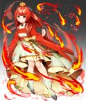 1girl choker clenched_hand dress fire flat_chest full_body gradient gradient_background grey_background hair_ornament hair_stick highres ho-oh personification pokemon pokemon_(game) red_dress red_eyes redhead s2roves2 solo two-tone_dress white_dress white_footwear wide_sleeves