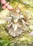 1girl artist_request bird blonde_hair dress fire_emblem fire_emblem:_path_of_radiance fire_emblem:_radiant_dawn fire_emblem_cipher green_eyes leanne_(fire_emblem) long_hair official_art white_dress white_wings wings
