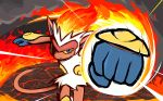 blue_eyes commentary creature english_commentary fiery_hair fire fire_punch_(pokemon) gen_4_pokemon highres infernape ishmam looking_at_viewer monkey no_humans pokemon pokemon_(creature) punching smoke solo standing upper_body