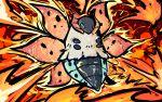 blue_eyes bug commentary creature english_commentary fiery_dance_(pokemon) fire flying full_body gen_5_pokemon highres ishmam no_humans pokemon pokemon_(creature) solo volcarona