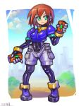 1girl aile bodystocking bodysuit breasts brown_hair closed_mouth commentary_request gloves green_eyes highres looking_at_viewer oomasa_teikoku robot_ears rockman rockman_exe short_hair shorts skin_tight smile solo spandex