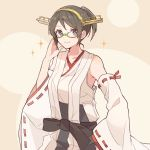 1girl adjusting_eyewear alternate_hairstyle black_hair brown_background commentary_request cowboy_shot detached_sleeves glasses green-framed_eyewear hairband headgear japanese_clothes kantai_collection kirishima_(kantai_collection) looking_at_viewer ponytail ribbon-trimmed_sleeves ribbon_trim shakemi_(sake_mgmgmg) short_hair solo two-tone_background