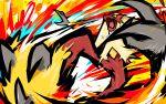 blaze_kick_(pokemon) blaziken blue_eyes commentary creature english_commentary fire gen_3_pokemon highres ishmam kicking no_humans pokemon pokemon_(creature) solo yellow_sclera