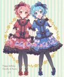 1boy 1girl :d animal_print black_gloves black_legwear blue_bow blue_dress blue_eyes blue_footwear blue_hair blue_neckwear blush bow bow_print bowtie braid brother_and_sister bunny_print center_frills character_name dated dorothy_west dress frilled_cuffs frilled_dress frilled_sleeves frills full_body gloves hair_bow happy_birthday highres holding_hands idol_time_pripara kaeru_(pau777) leona_west lolita_fashion looking_at_viewer open_mouth otoko_no_ko pantyhose pink_bow pink_hair pointing pointing_at_self pretty_(series) print_dress pripara red_bow red_dress red_eyes red_footwear red_neckwear short_hair siblings side_braid single_glove skirt_hold smile striped striped_background twins vertical-striped_background vertical_stripes wrist_cuffs