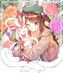 1girl backpack bag blue_eyes brown_cardigan brown_hair creature floral_background flower gen_6_pokemon green_headwear grin happy hat highres holding holding_pokemon hug long_hair long_sleeves one_eye_closed pokemon pokemon_(creature) pokemon_(game) pokemon_swsh se.a smile sylveon tam_o'_shanter upper_body yuuri_(pokemon)