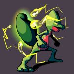 absorb_(pokemon) commentary creature energy english_commentary full_body gen_3_pokemon green_background highres legs_apart looking_away multiple_sources pokemon pokemon_(creature) shadow simple_background solo standing treecko viralzone13