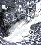 1girl anchor ascot attack black_hair chain full_body gloves hat highres holding medium_hair murasa_minamitsu outdoors outstretched_arm sailor sailor_hat shirt shorts smile solo spell_card splashing sunyup touhou water