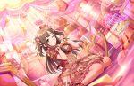 blush brown_eyes brown_hair dress idolmaster_cinderella_girls_starlight_stage long_hair mizumoto_yukari smile valentine wink