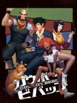 1girl cowboy_bebop dark_skin edward_wong_hau_pepelu_tivrusky_iv ein_(cowboy_bebop) faye_valentine gunshiprevolution hair_ornament highres jet_black red_eyes science_fiction short_hair smoking spike_spiegel sunrise sunrise_(company)