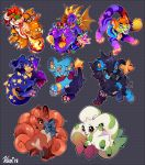 2018 :d activision animal bandai blush bowser bracelet breathing_fire brown_eyes claws commentary creature creatures_(company) digimon digimon_(creature) dragon english_commentary fire full_body game_freak gen_1_pokemon gen_4_pokemon grey_background happy highres horn horns jewelry kougra looking_at_viewer luxray mammal mario_(series) monster namco naughty_dog neck_ribbon neopet neopets nickelodeon nintendo nintendo_ead no_humans olm_digital one_eye_closed open_mouth pokemon pokemon_(creature) reptile ribbon shinx signature smile sony spiked_bracelet spikes spyro_(series) spyro_the_dragon star super_mario_bros. super_smash_bros. terriermon vani viacom vicarious_visions violet_eyes vulpix yellow_eyes zafara