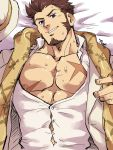 1boy abs alternate_costume beard blue_eyes brown_hair chest facial_hair fate/grand_order fate_(series) hat highres kirupi long_sleeves looking_at_viewer male_focus muscle napoleon_bonaparte_(fate/grand_order) open_clothes open_shirt pectorals scar scarf sideburns simple_background smile solo sweat upper_body