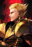 1boy armor aura blonde_hair crossed_arms earrings fate/stay_night fate_(series) gilgamesh gold_armor hankuri jewelry male_focus red_eyes simple_background solo