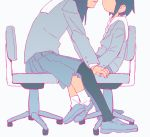 2girls arm_support asakusa_midori black_hair black_legwear chair dyx_(asdiandyx) eizouken_ni_wa_te_wo_dasu_na! face-to-face foot_dangle from_side grey_background head_out_of_frame height_difference kanamori_sayaka limited_palette loafers long_hair long_sleeves multiple_girls muted_color office_chair parted_lips pleated_skirt profile sailor_collar school_uniform serafuku shoes short_hair simple_background sitting skirt socks white_legwear white_sailor_collar yuri