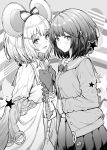 2girls animal_ears bangs blush breasts cardigan closed_mouth dual_persona fake_animal_ears granblue_fantasy greyscale hair_ornament holding_hands interlocked_fingers long_sleeves looking_at_viewer monochrome mouse_ears multiple_girls mushi024 open_mouth pleated_skirt sailor_collar short_hair skirt small_breasts smile vikala_(granblue_fantasy)