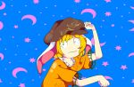 1girl animal_ears blue_background cabbie_hat constricted_pupils crescent_moon drawing eizouken_ni_wa_te_wo_dasu_na! expressionless frilled_shirt_collar frills hat meme moon parody pose r0salsky rabbit_ears ringo_(touhou) shirt short_sleeves solo star touhou wide-eyed yellow_shirt