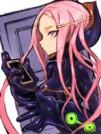 1girl anemone_(eureka_seven) bodysuit breasts closed_mouth dakusuta eureka_seven eureka_seven_(series) hair_ornament hairclip highres long_hair pink_eyes pink_hair solo