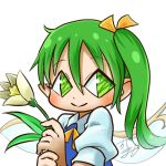 1girl avatar_icon blush chamaji close-up collared_shirt commentary daiyousei eyebrows_visible_through_hair fairy fairy_wings flower green_eyes green_hair hair_between_eyes hair_ribbon holding holding_flower looking_at_viewer lowres neck_ribbon pointy_ears puffy_short_sleeves puffy_sleeves ribbon shirt short_sleeves side_ponytail signature simple_background smile solo touhou upper_body vest white_background wing_collar wings
