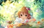 araki_hina blush brown_eyes brown_hair dress idolmaster_cinderella_girls_starlight_stage short_hair smile sweets