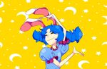 1girl animal_ears blue_dress blue_hair closed_eyes crescent_moon dress eizouken_ni_wa_te_wo_dasu_na! medium_hair meme moon parody puffy_short_sleeves puffy_sleeves r0salsky rabbit_ears seiran_(touhou) short_sleeves smile solo star touhou yellow_background