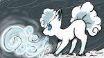 akura-yumei alolan_form alolan_vulpix blue_eyes commentary english_commentary from_side gen_7_pokemon grey_background highres icy_wind_(pokemon) pokemon profile snow standing wind