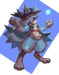 absurdres blue_background blue_cape blue_headwear cape energy hat highres lucario open_mouth pokemon red_eyes shaded_face simple_background smile standing tapioka_chaso two-tone_background white_background
