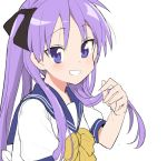 1girl azuse_neko blue_sailor_collar bow bowtie commentary_request grin hiiragi_kagami looking_at_viewer lucky_star purple_hair ryouou_school_uniform sailor_collar school_uniform serafuku simple_background smile solo twintails upper_body violet_eyes white_background yellow_neckwear