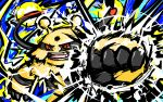 commentary creature electivire electricity english_commentary gen_4_pokemon highres ishmam no_humans pokemon pokemon_(creature) punching red_eyes solo standing thunder_punch_(pokemon) upper_body
