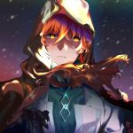 1boy closed_mouth collar fate/grand_order fate_(series) foroxy glowing glowing_eyes highres hood hood_up looking_at_viewer male_focus multicolored multicolored_background orange_hair romani_archaman shaded_face short_hair solo spoilers upper_body wavy_hair yellow_eyes
