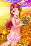 1girl bangs blue_flower bouquet closed_mouth crazypen day field flower flower_field hair_ornament hairclip highres holding holding_bouquet layered_skirt long_hair long_sleeves looking_at_viewer love_live! love_live!_sunshine!! miniskirt outdoors petals pink_flower pink_shirt pink_skirt redhead sakurauchi_riko shiny shiny_hair shirt skirt smile solo standing swept_bangs very_long_hair yellow_eyes yellow_flower