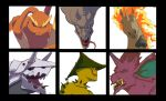 aerodactyl aggron black_border border brown_eyes cacturne commentary creature english_commentary face fangs fiery_hair fire from_side gen_1_pokemon gen_3_pokemon gen_4_pokemon horn horns looking_at_viewer looking_to_the_side lopunny mean_look_(pokemon) nidoking no_humans one_eye_closed pokemon pokemon_(creature) profile rapidash sharp_teeth spikes teeth tongue tongue_out totodiletears unicorn