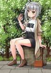 1girl alternate_costume black_shorts blue_bra bra brown_coat brown_eyes brown_footwear casual coat commentary_request full_body grey_hair kantai_collection kasumi_(kantai_collection) long_hair looking_at_viewer mayura2002 see-through shirt shorts side_ponytail sitting solo suitcase tree underwear white_shirt
