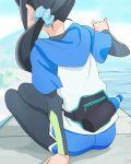 1girl black_hair blue_scrunchie blue_sky day from_behind hair_ornament hair_scrunchie haruyama_kazunori healin'_good_precure long_hair outdoors ponytail precure sawaizumi_chiyu scrunchie sitting sky solo