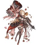 1girl belt blonde_hair bow cake candy capelet detached_sleeves eating food frills full_body hammer hood hooded_capelet ji_no little_red_riding_hood_(sinoalice) looking_at_viewer mary_janes official_art orange_eyes over_shoulder pastry ribbon shoes sinoalice solo striped striped_legwear thigh-highs thigh_strap transparent_background weapon weapon_over_shoulder