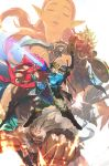 3boys 3girls absurdres beak beard blonde_hair boots bow_(weapon) bracelet clenched_hand clenched_teeth closed_eyes commentary dark_skin daruk facial_hair gerudo goron head_fins highres jewelry korean_commentary link master_sword mipha multiple_boys multiple_girls muscle parted_lips pointy_ears polearm princess_zelda punching quiver red_skin redhead revali rito scabbard sheath sheikah_slate shield sword teeth the_legend_of_zelda the_legend_of_zelda:_breath_of_the_wild tiara urbosa wan_young_yun weapon wings zora