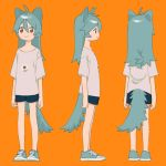 1girl :> animal_ears antenna_hair aqua_footwear aqua_hair arms_at_sides bangs bare_legs blue_footwear blue_shorts cat_ears cat_tail character_sheet closed_mouth cross-laced_footwear dot_nose facing_away from_behind from_side full_body hair_between_eyes long_hair looking_at_viewer looking_away multiple_views niwabuki orange_background original print_shirt profile red_eyes ruka_(niwabuki) shirt shoes short_sleeves shorts simple_background smile sneakers standing t-shirt tail tareme turnaround